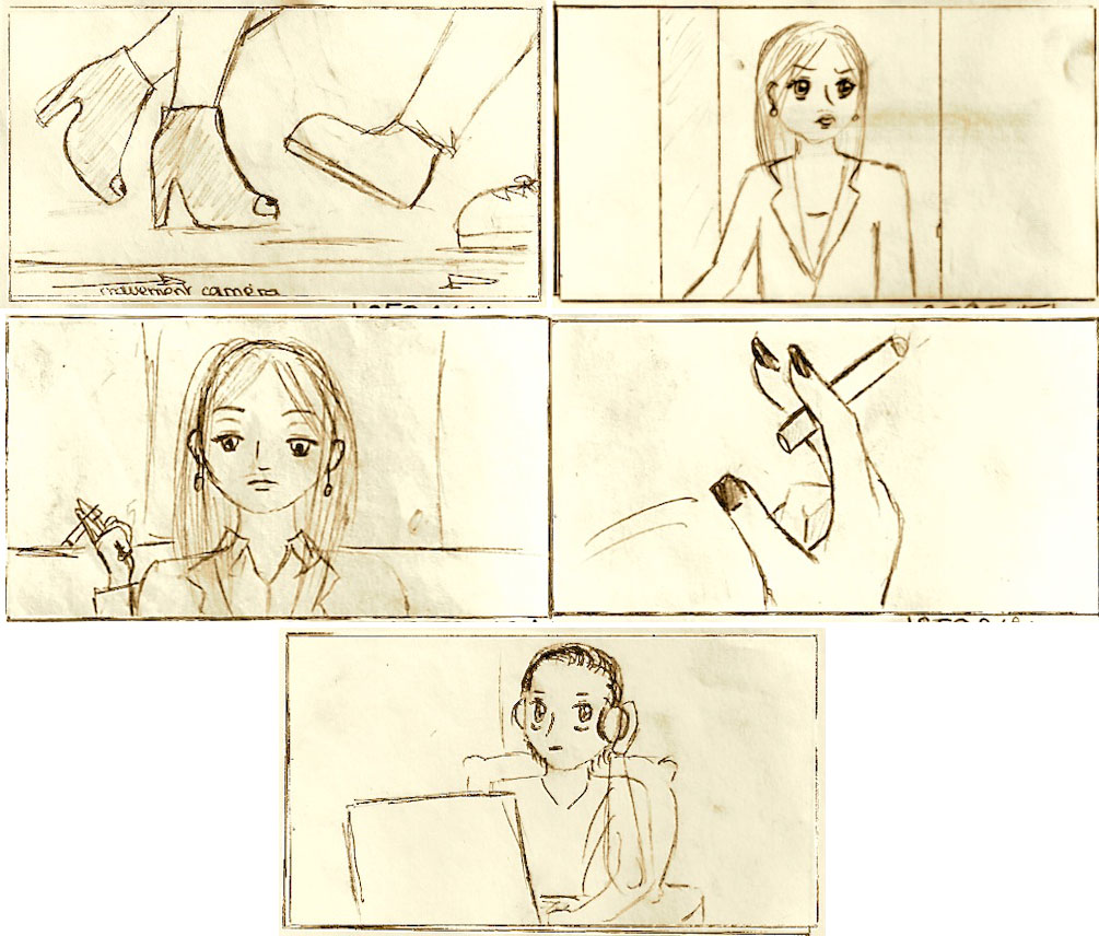 Extraits du storyboard du film Son Mascara