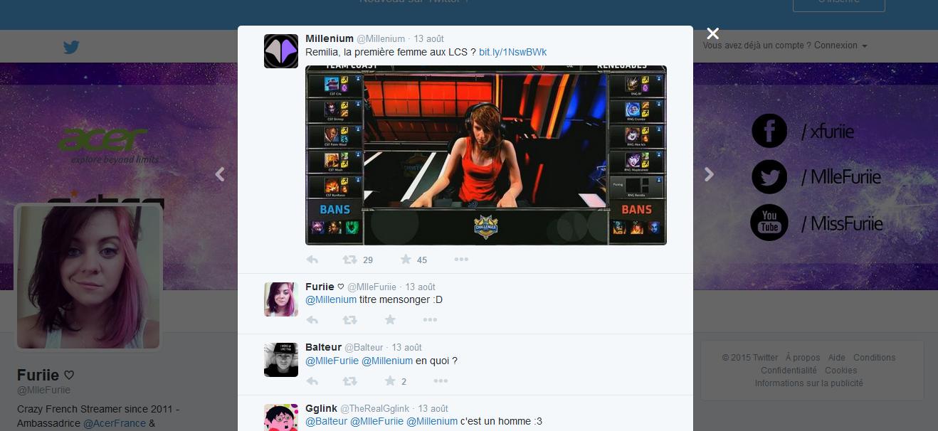Commentaire de la streameuse Furiie sur le tweet de l'article de Millenium.