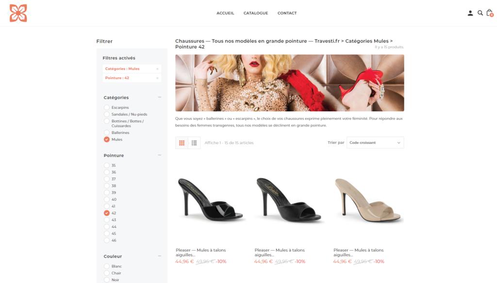 Catégorie chaussures sur Travesti.fr